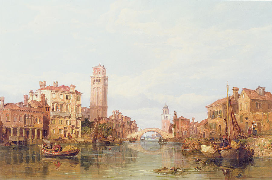 Veneto; Italy; River; Canal; Vessel; Townscape; Bridge; Tower; City Painting - A View Of Verona by George Clarkson Stanfield