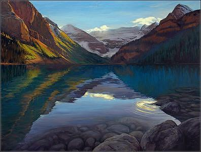 Landscape Painting - A View Through Lake Louise by Dmitry Oivadis