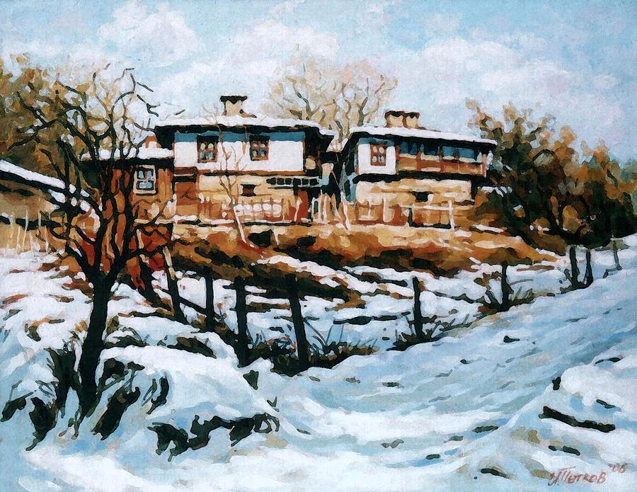 Landscape Painting - A Village In Winter by Iliyan Bozhanov