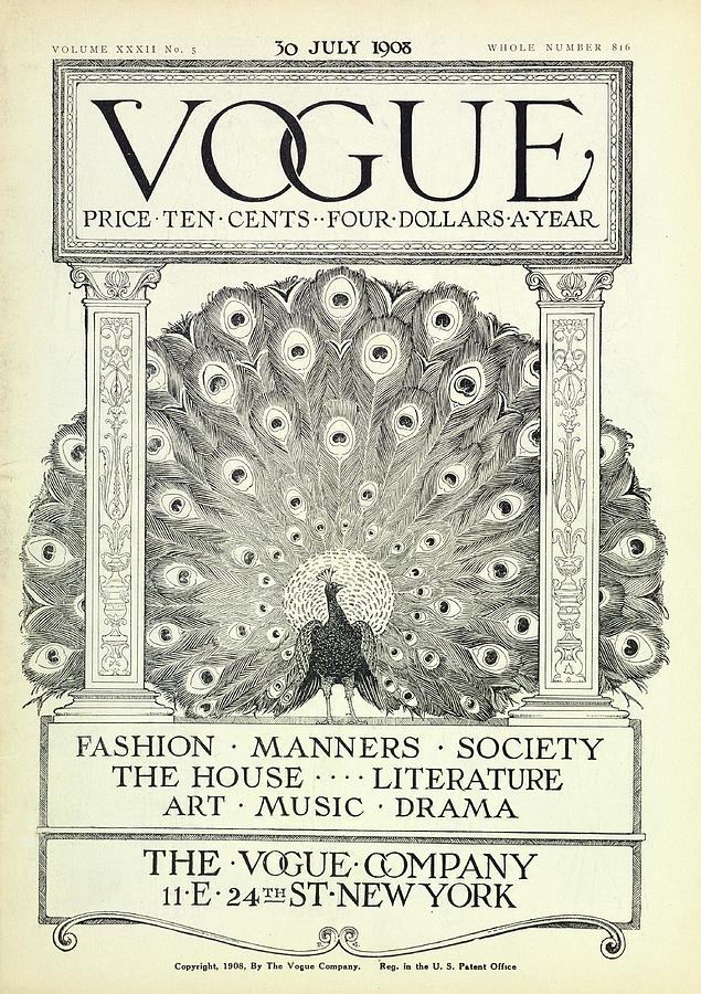 A Vintage Vogue Magazine Cover Photograph by Artist Unknown