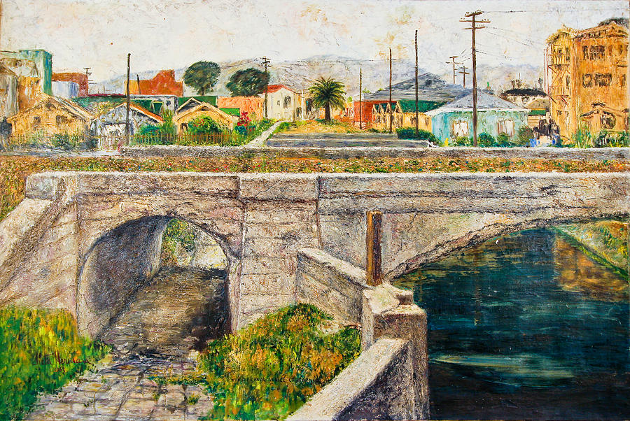 City Painting - A Walk Along The Canal By Victor Herman by Joni Herman