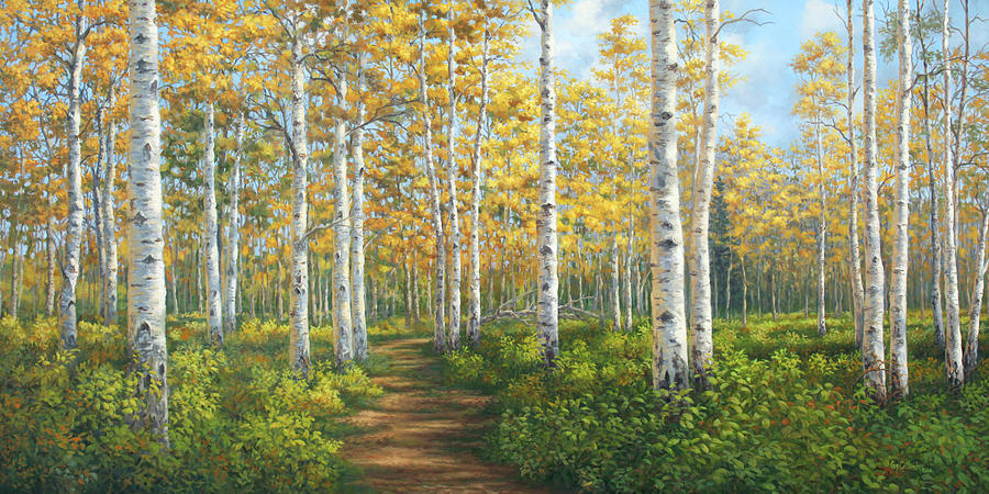 A Walk in the Aspens Painting by Guy Crittenden