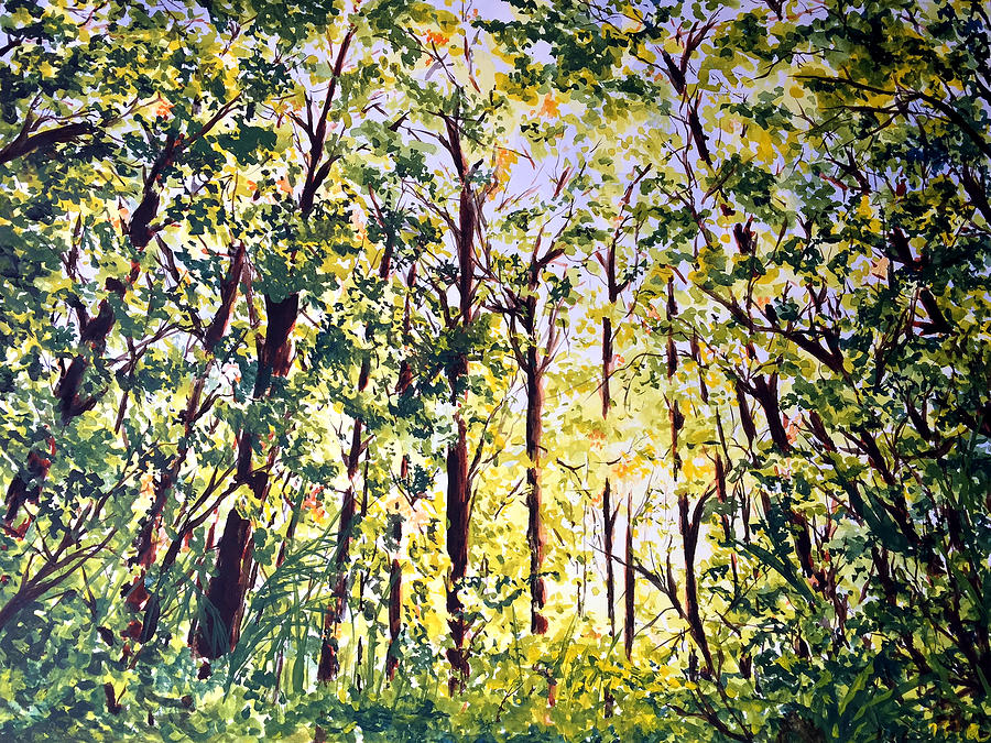 Woods Painting - A Walk in the Forest by Monika Arturi