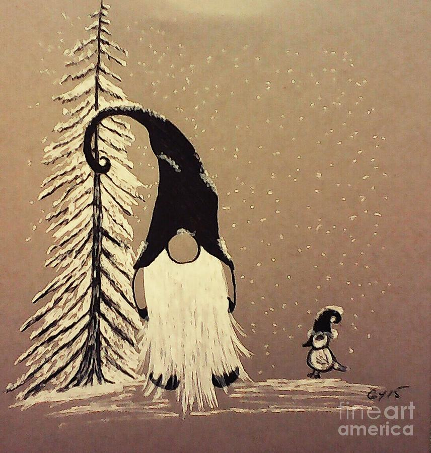 Gnome Drawing - A Walk In The Snow by Ginny Youngblood