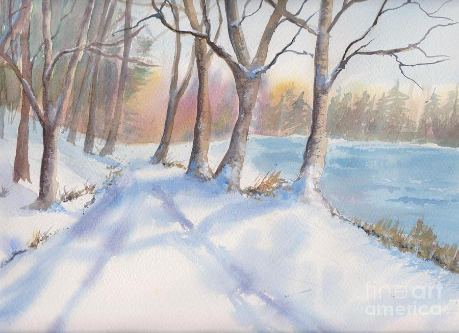 Winter Painting - A Walk In The Snow by Yohana Knobloch