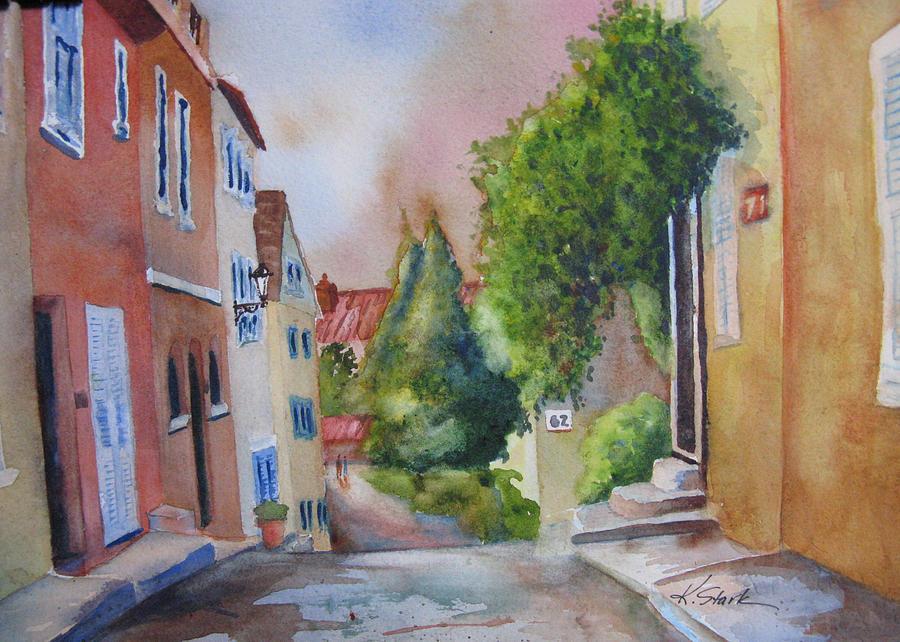 Village Painting - A Walk In The Village by Karen Stark