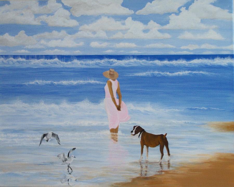 Beach Painting - A Walk On The Beach by Linda Bennett