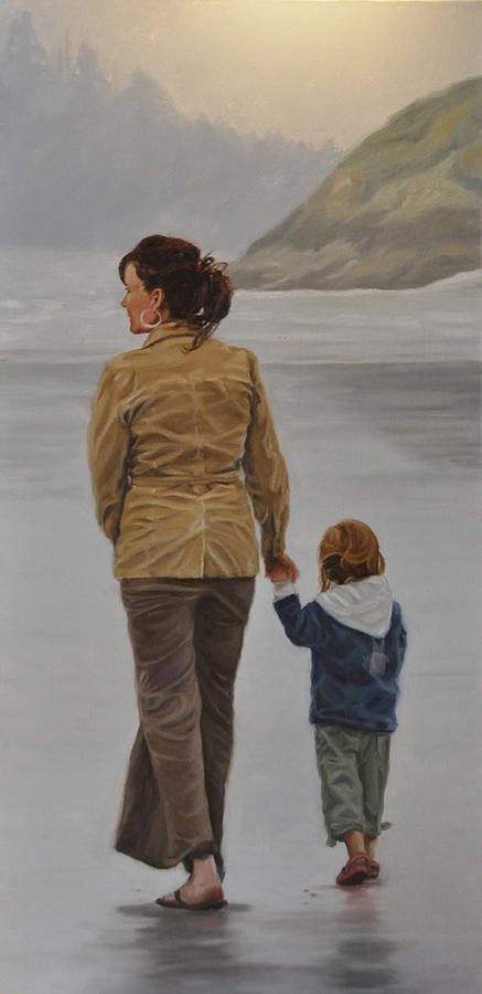 Landscape Painting - A Walk on the Beach by Tahirih Goffic