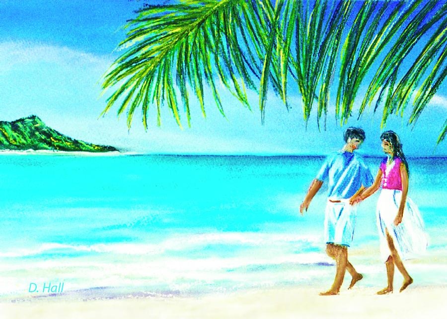 Diamond Head Painting - A Walk On Waikiki Beach #190 by Donald k Hall