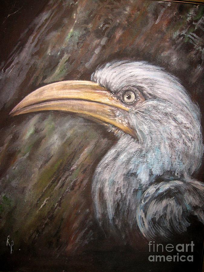 Bird Painting - A Watchful Eye by Rita Palm