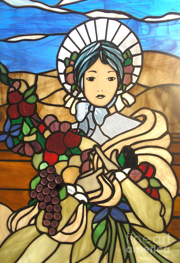 Pioneer Woman Glass Art - A Wealth Of Abudance by David Gomm