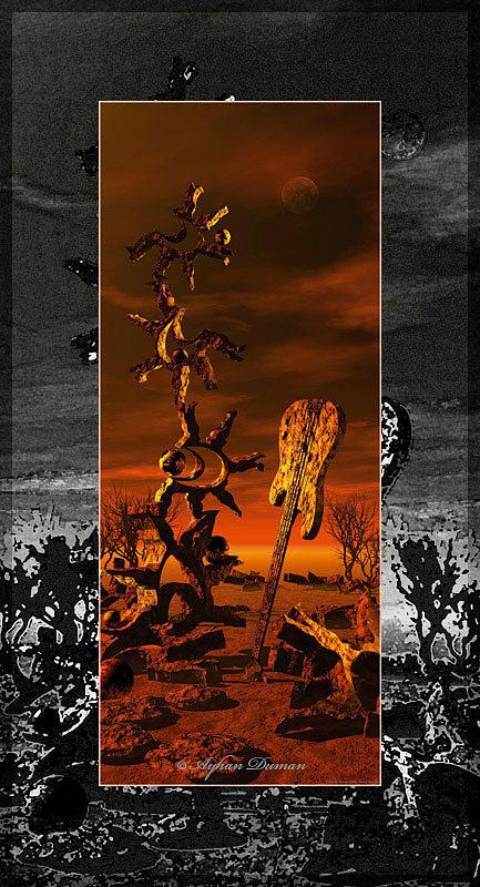 Landscape Painting - A Weird Landscape by Ayhan Duman