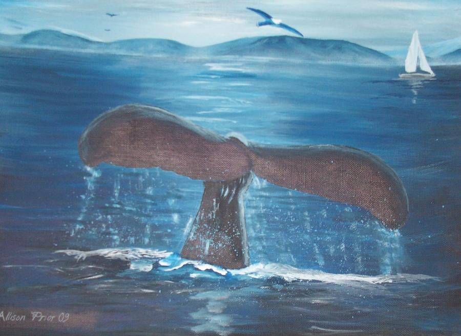 Ocean Painting - A Whales Tale by Allison Prior