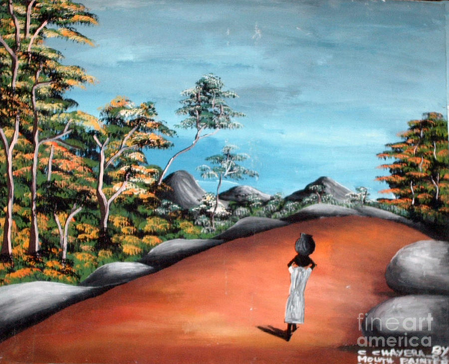 African Painting - A Wide Path To The Village by Chrisfold Chayera