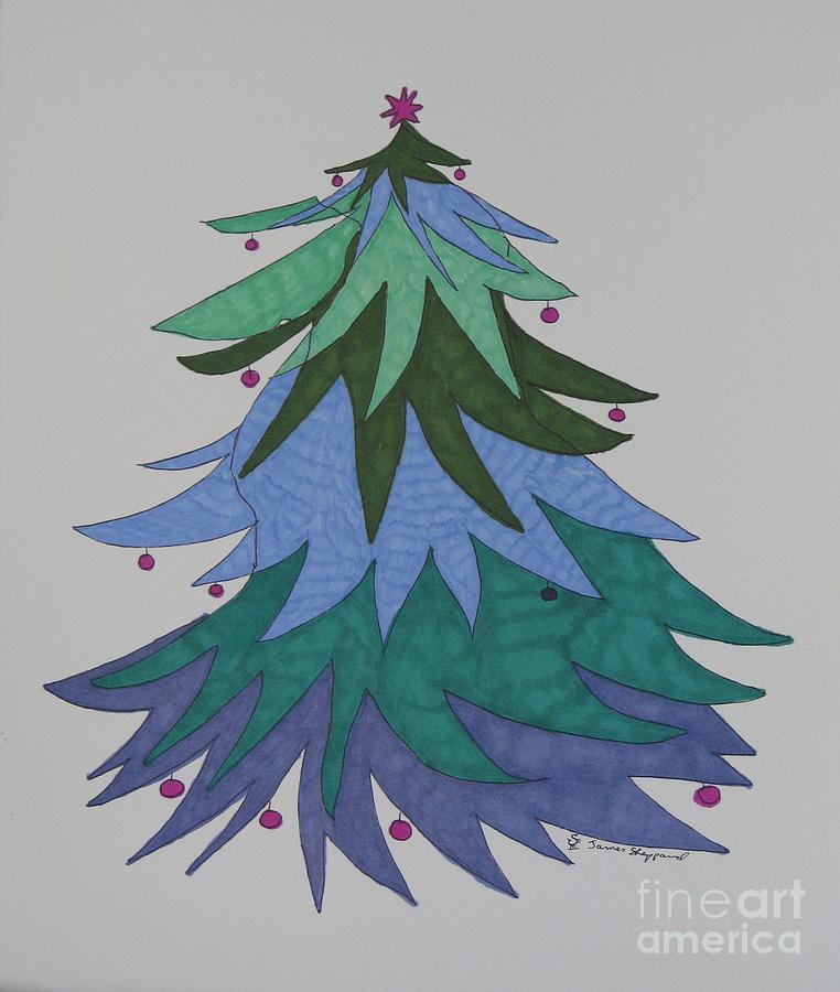 Christmas Tree Mixed Media - A Wild Christmas Tree by James SheppardIII