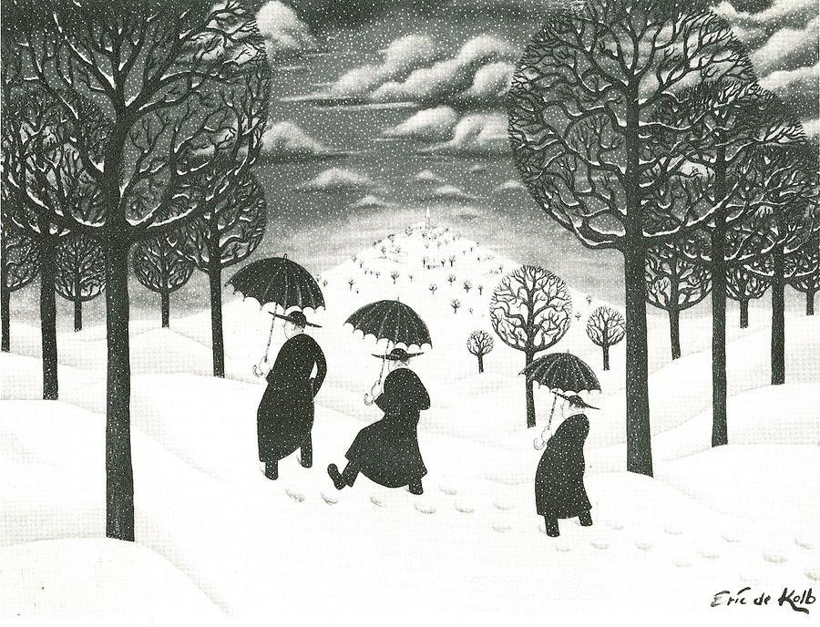 Winter Scene Painting - A Winter Scene by Eric de Kolb