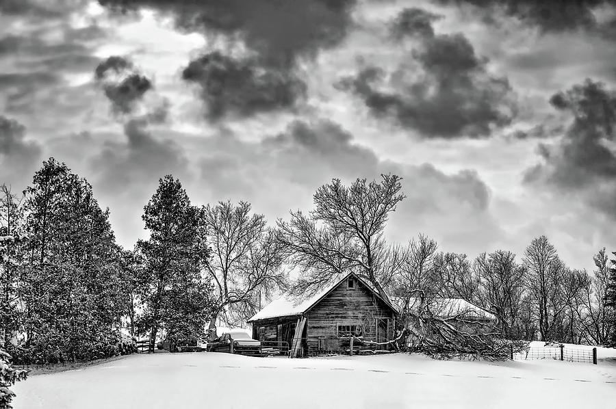 Winter Photograph - A Winter Sky Monochrome by Steve Harrington
