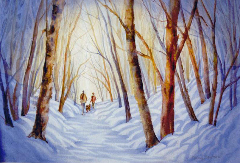 Landscape Painting - A-winter-walk by Nancy Newman
