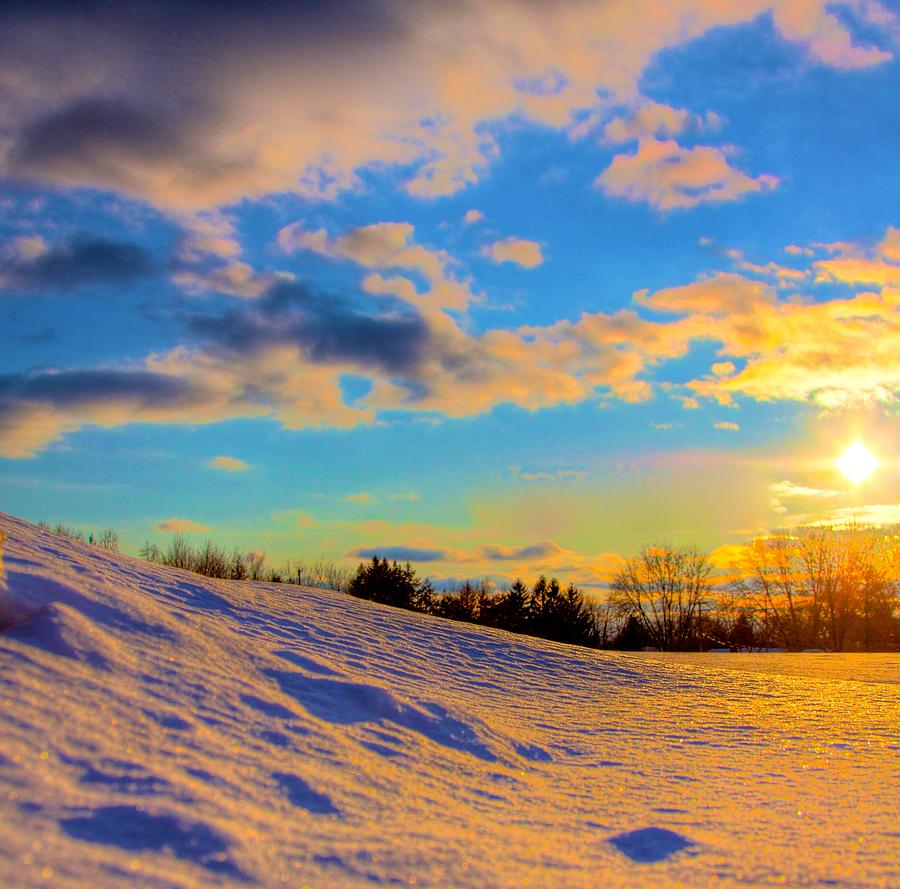 Winter Photograph - A Winters Sunset  by Robert Pearson