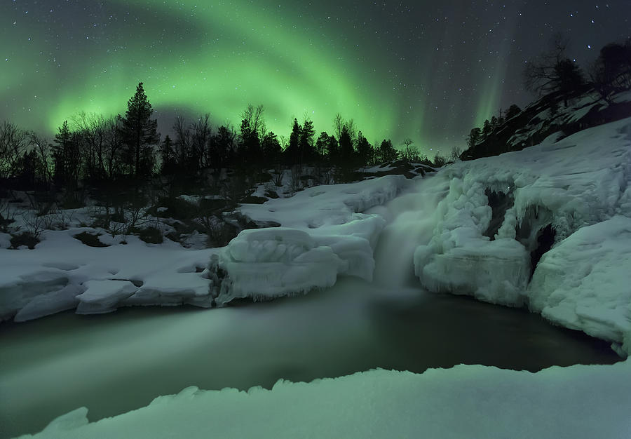 Green Photograph - A Wintery Waterfall And Aurora Borealis by Arild Heitmann