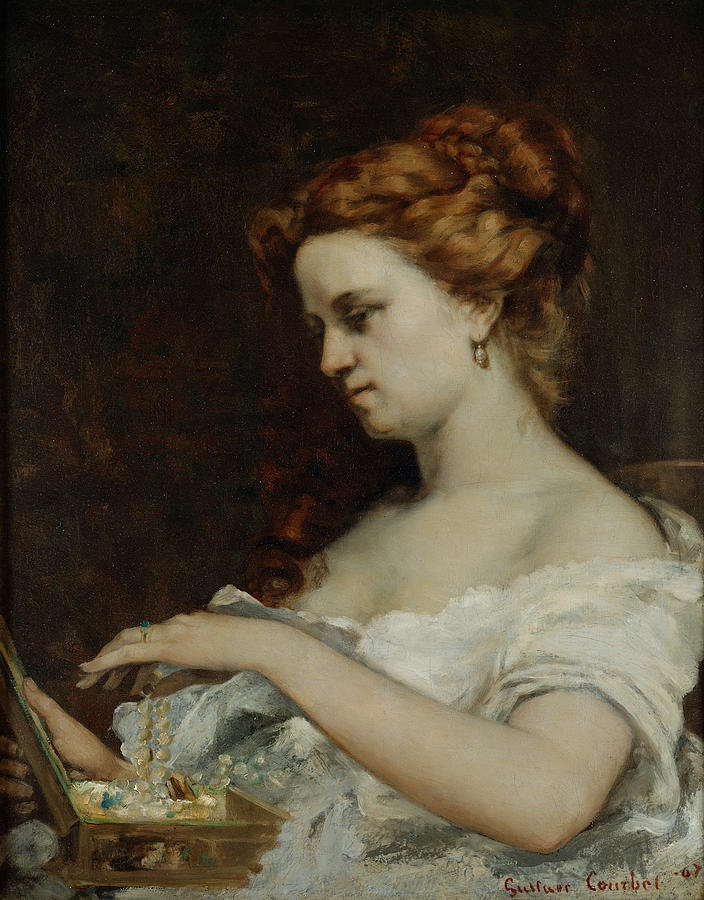 Woman Painting - A Woman With Jewellery by Gustave Courbet