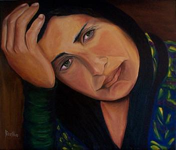 Portrait Painting - A Womans Face by Jude Rouslin