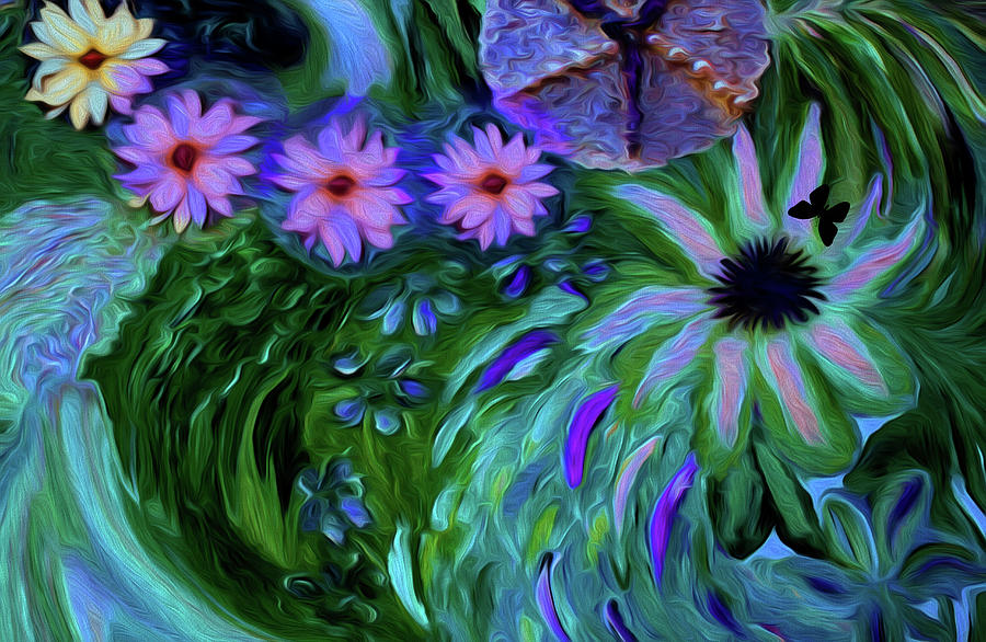 Woman Digital Art - A Womans Touch With Her Flowers by Sherris - Of Palm Springs