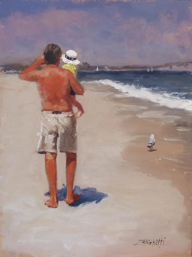 Beach Painting - Pa Pa And Me by Laura Lee Zanghetti
