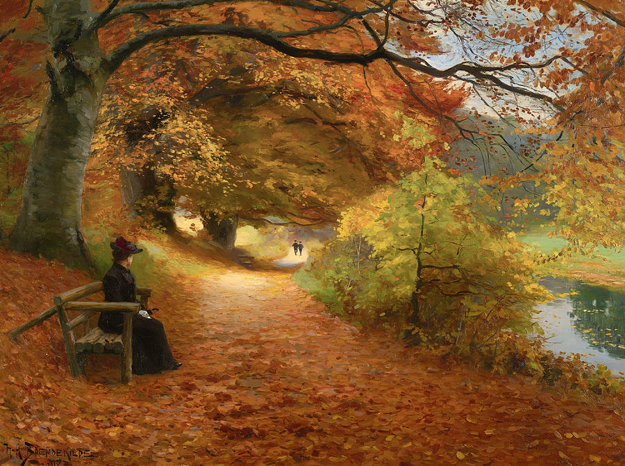 Painting Painting - A Wooded Path In Autumn by Mountain Dreams