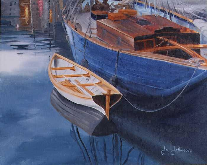 A Working Boat Painting by Jay Johnson