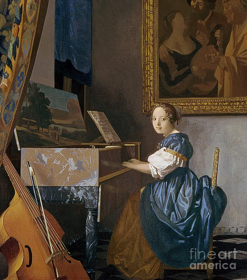 Young Painting - A Young Lady Seated At A Virginal by Jan Vermeer