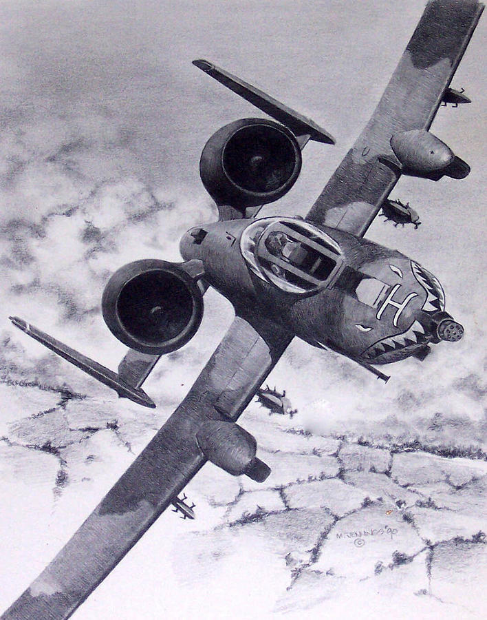 Airplane Drawing - A10 Rolling Out by Mark Jennings