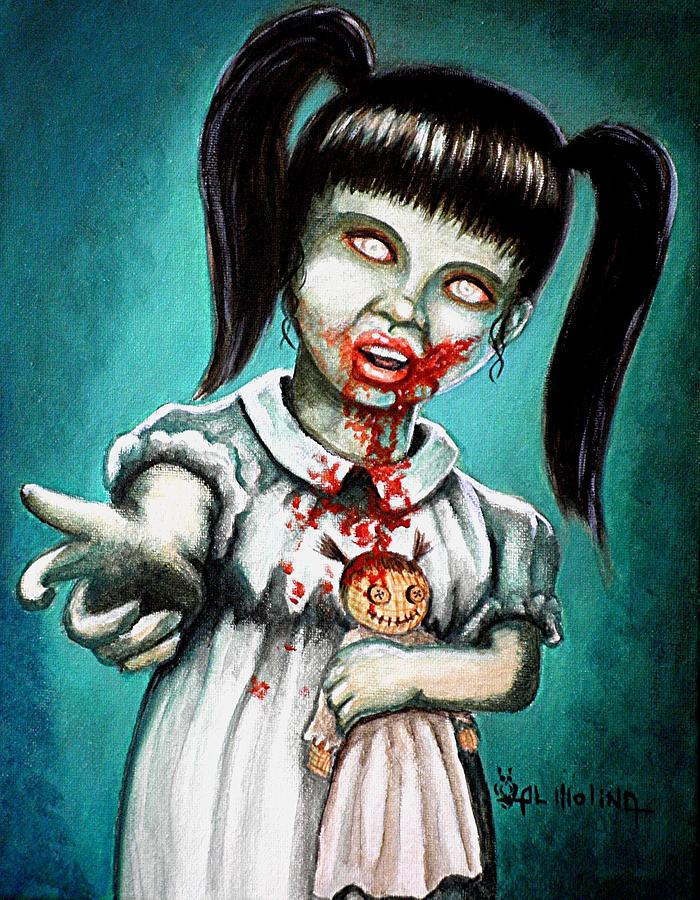 Zombie Painting - Aaarrgg Thats Zombie Talk For Mommy by Al  Molina