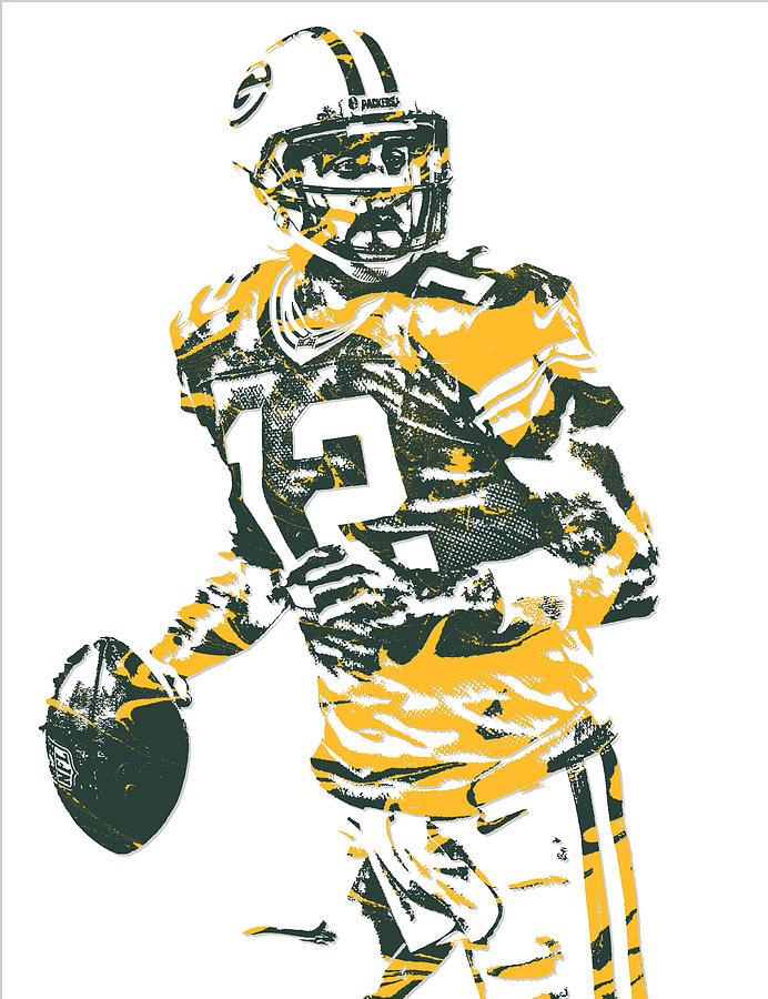 Aaron Rodgers Mixed Media - Aaron Rodgers Green Bay Packers Pixel Art 15 by Joe Hamilton
