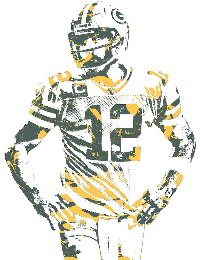 Aaron Rodgers Mixed Media - Aaron Rodgers Green Bay Packers Pixel Art 20 by Joe Hamilton