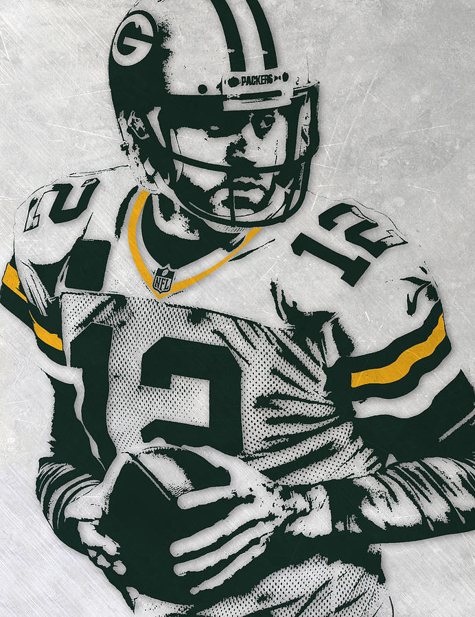 Aaron Rodgers Mixed Media - Aaron Rodgers Green Bay Packers Pixel Art 4 by Joe Hamilton