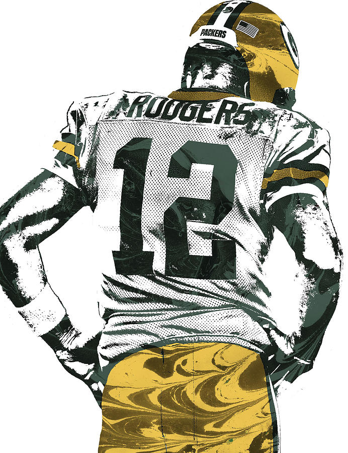 Aaron Rodgers Mixed Media - Aaron Rodgers Green Bay Packers Pixel Art 6 by Joe Hamilton