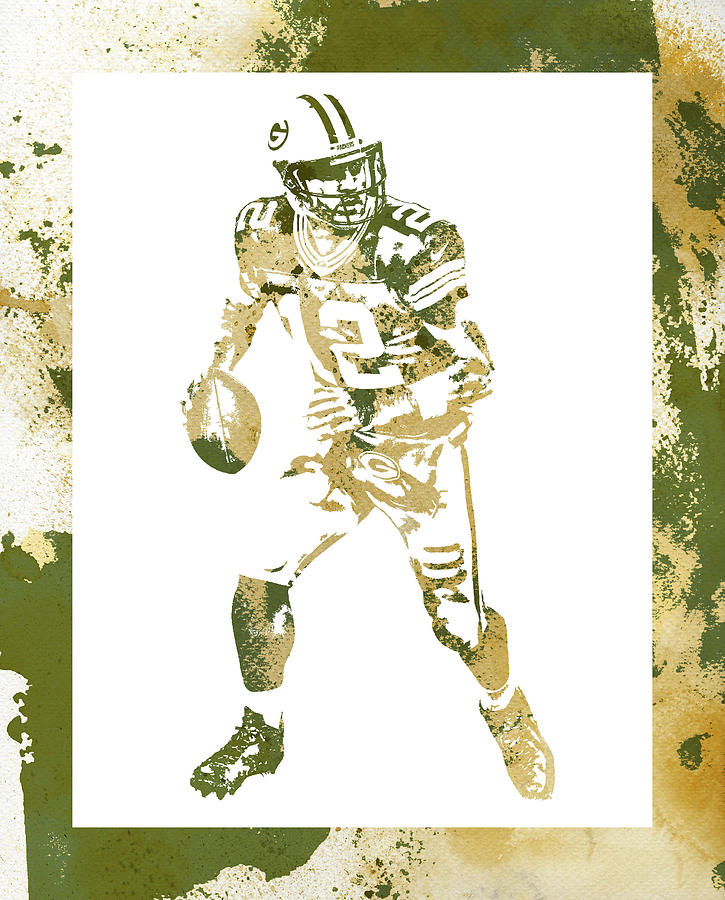Aaron Rodgers Mixed Media - Aaron Rodgers Green Bay Packers Water Color Art 1 by Joe Hamilton
