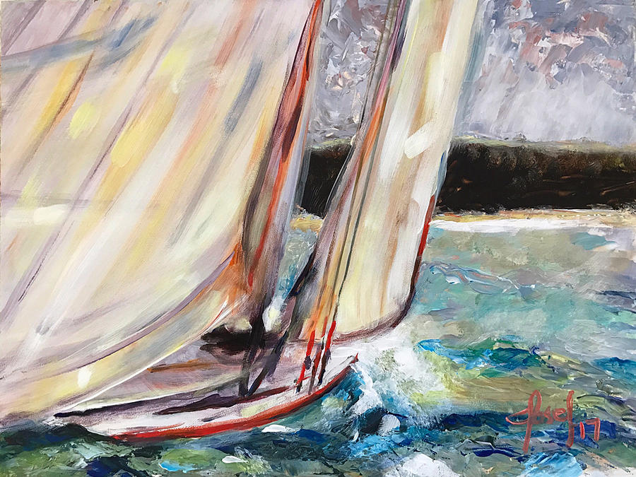 Abaco Painting - Abaco Dinghy Race II by Josef Kelly