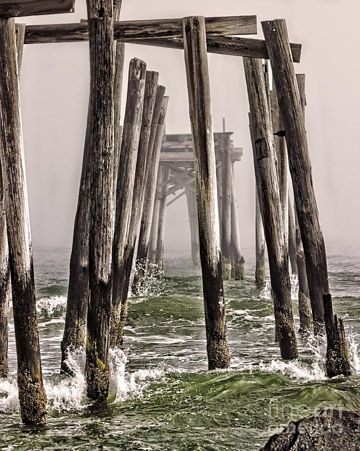 Waves Photograph - Abandon Pier Thru The Fog by Tom Gari Gallery-Three-Photography
