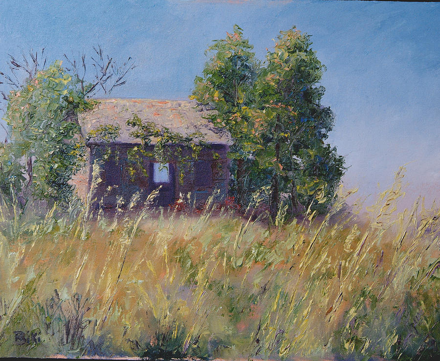 Landscape Painting - Abandoned - and the wind blows through it by Biki Chaplain