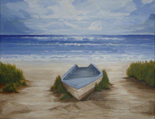 Boat Painting - Abandoned Boat by Linda Bennett