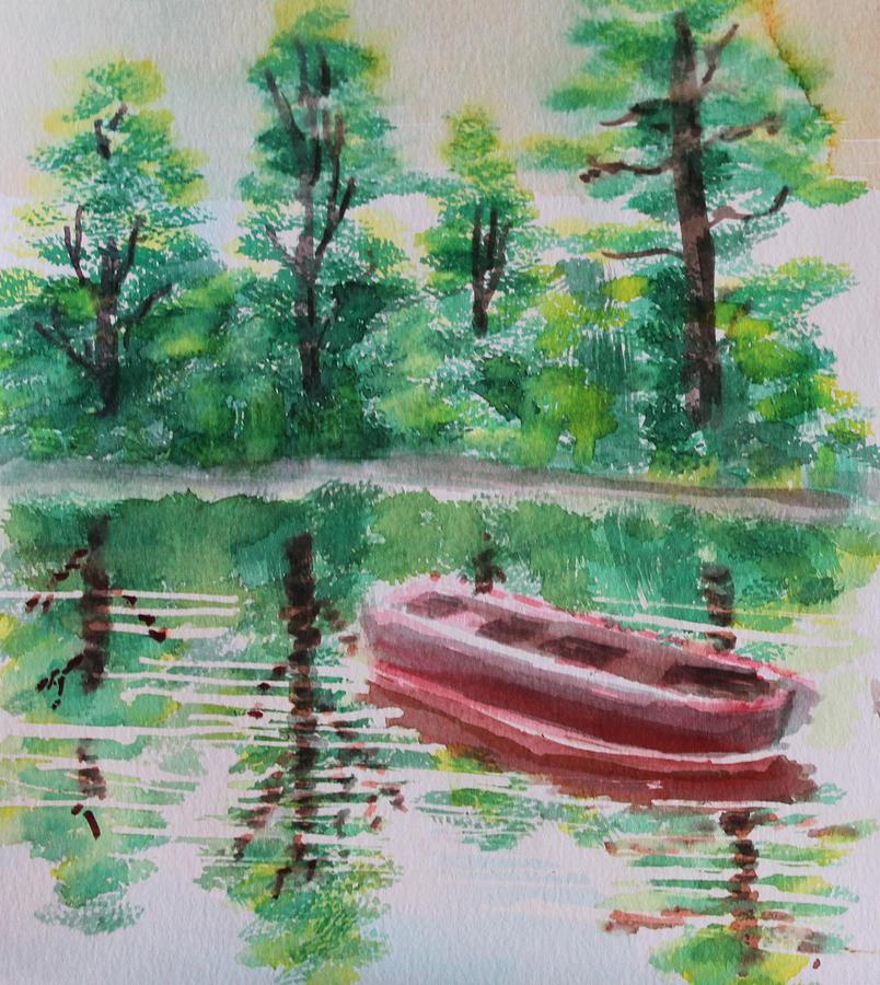 River Painting - Abandoned Boat by Remegio Onia