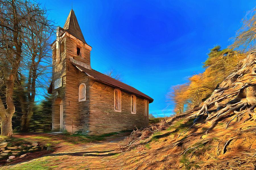 Atmosfera Photograph - Abandoned Church Of Abandoned Village Paint - Chiesa Abbandonata Di Paesino Abbandonata Paint by Enrico Pelos