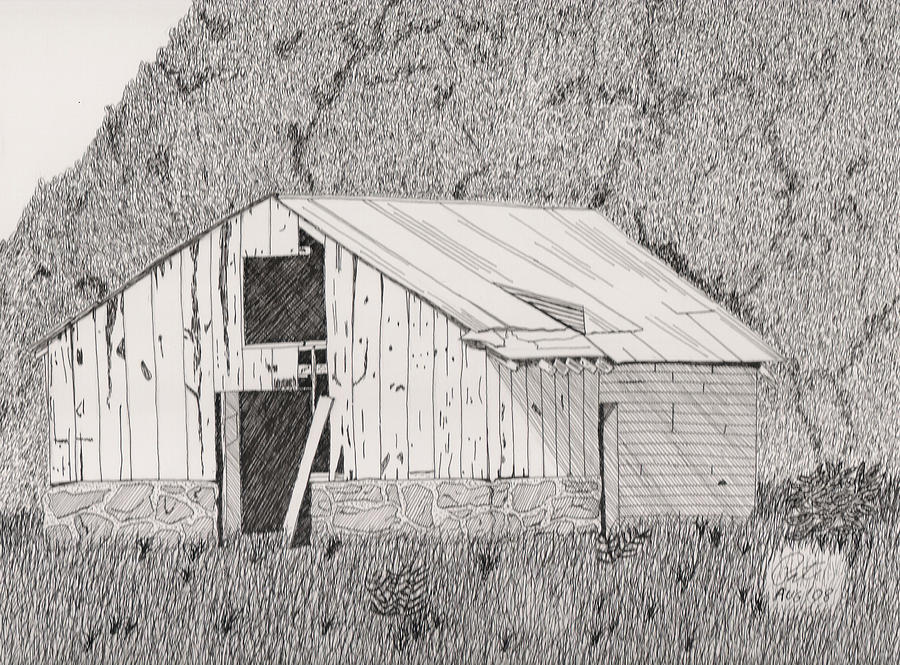 Pen And Ink Drawing - Abandoned Dairy-oklahoma by Pat Price