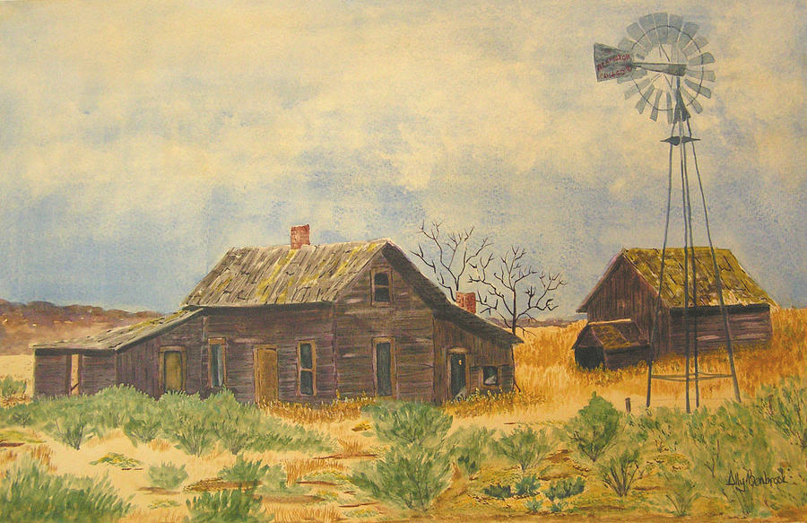 Farm Painting - Abandoned Farm by Ally Benbrook
