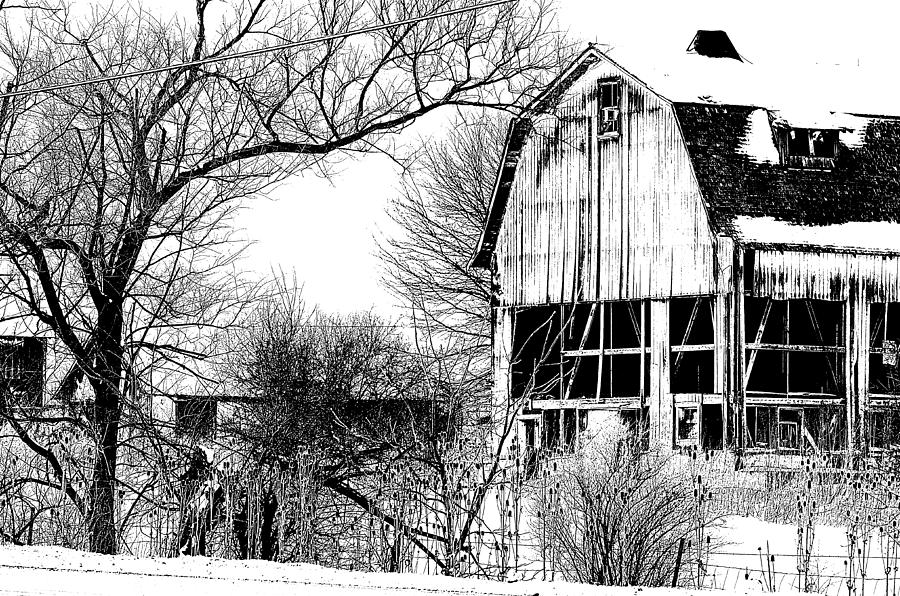 Black And White Photograph - Abandoned Farm Fr by Lev PALIEV