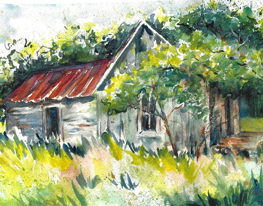 Abandoned Farmhouse in the Ozark Mountains on the Gravel Road to Hawk's Bill Crag at Whitaker Point by Jacki Kellum