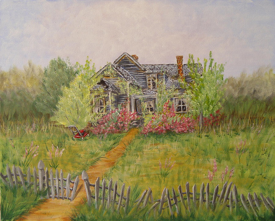 Landscape Painting - Abandoned House by Quwatha Valentine