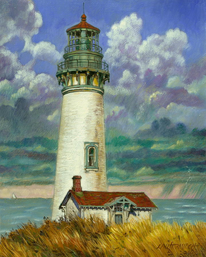 Lighthouse Painting - Abandoned Lighthouse by John Lautermilch
